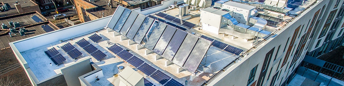 Drone photo of roof solar panels
