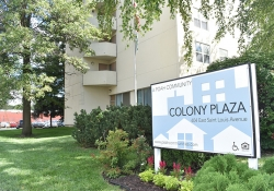 Colony Plaza Apartments sign
