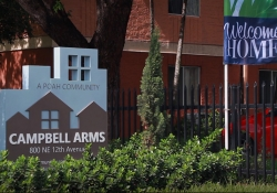 Campbell Arms Apartments Welcome sign