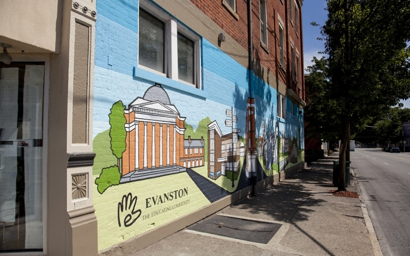 Losantiville Apartments - Evanston exterior mural