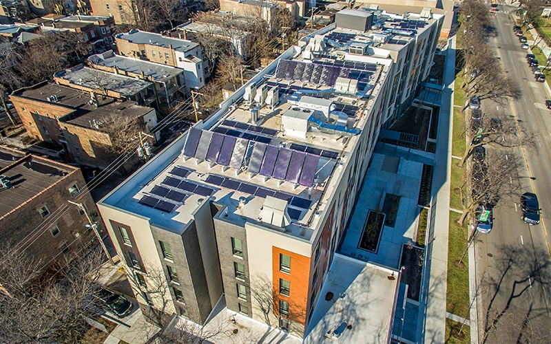 The Burnham roof solar panels taken by drone