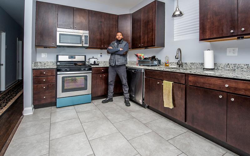 kitchen interior with owner