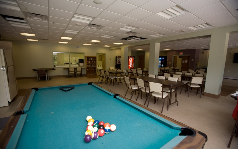 Hillcrest Village common room and pool table