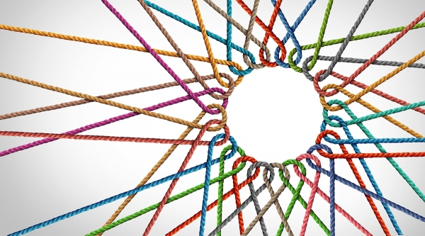 Multi colored ropes forming circle