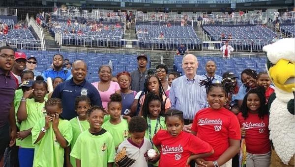 garfield residents at baseball game